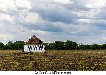 world wide web barn, in the middle of a field
