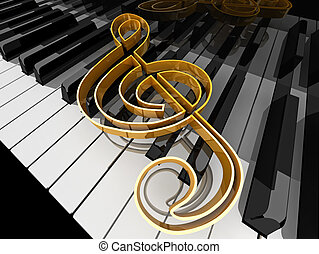Music symbol  on piano keys