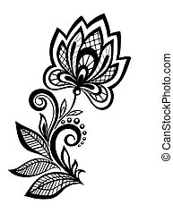 black and white floral pattern design element Many...