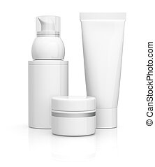 tube jar and bottle - package of cosmetics, all in white 3d...