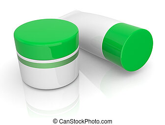 tube and jar - one tube and a jar with green caps 3d render...