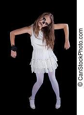 girl,  halloween face art on black background