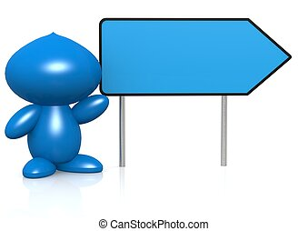 Blue figure with sign board