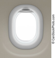 window of airplane isolated with clipping path included