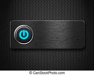 computadora, o, electricidad, potencia, botón,...