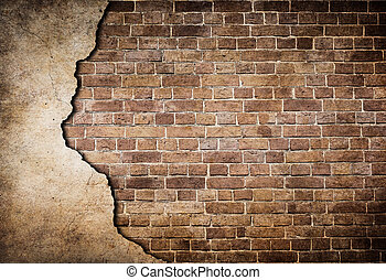 old brick wall partially damaged