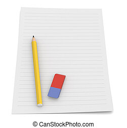 take notes - one pencil and an eraser on a paper sheet 3d...