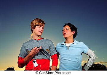 Teen friends - Portrait of two trendy teenager friends...