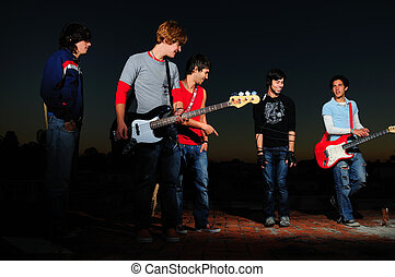 Young musican band - Portrait of a group of young musicians...