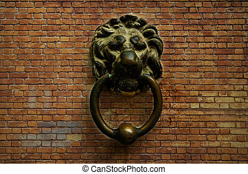 Vintage lion doorbell - Abstract background with bricks and...