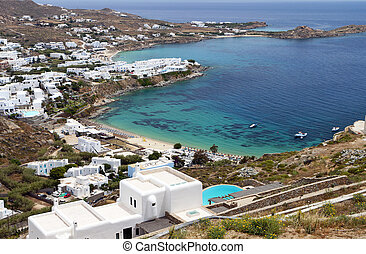 Mykonos island in Greece - Platis gialos and the famous...