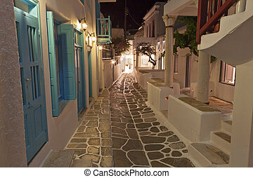 Mykonos island in Greece - Streets of Mykonos by night at...