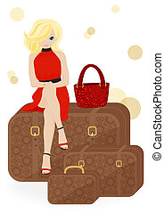 girl traveler sitting on a suitcase isolated on white...