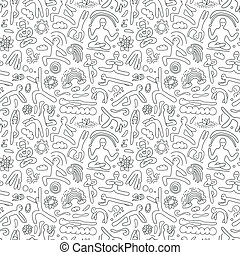 Yoga -seamless pattern - Yoga -seamless vector pattern with...