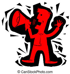 Businessman in office clothes with loudspeaker.Vector red...