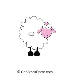 funny sheep animal with big eye vector