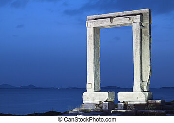 Naxos island in Greece - Ancient gate of Apollon temple at...