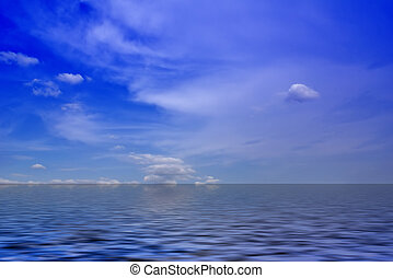 Ocean view - Sea view - wonderful clouds against blue sky