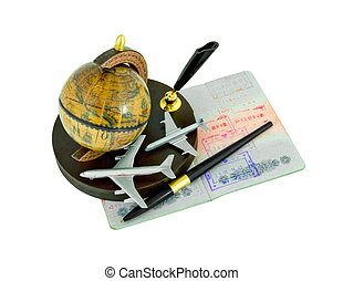 Passport with stamps, pen, globe and airplanes