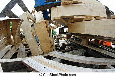 entulho, muitos, madeira, Pallets, empilhado, cima