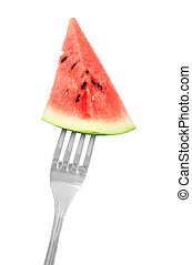 fork with Watermelon slice isolated on white background