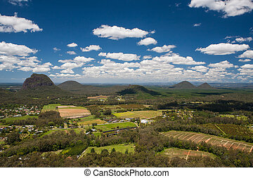 Glass house Mountains - A view across the Glass House...