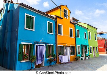 Burano Colorful Houses - Street with typical Burano colorful...
