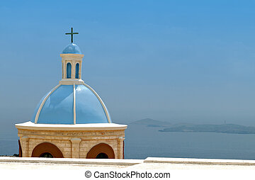 Syros island in Greece - Traditional steeple over the Aegean...
