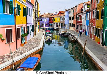 Burano Canal - Burano canal full of boats and colorful...