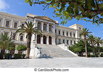 Syros island in Greece - The City Hall of Ermoupolis town at...