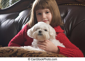 Maltese and Young Girl