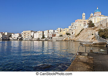 Syros island in Greece - View of Ermoupolis town at Syros...