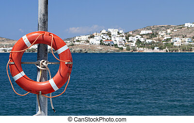Greek island in the Aegean sea - Old life buoy on a Greek...