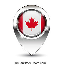 Canada flag map pin - Canadian flag on glossy map pin,...