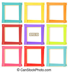 9 wooden picture frames color set - 9 wooden square picture...