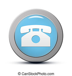 Phone icon - blue round Icon series : Phone button
