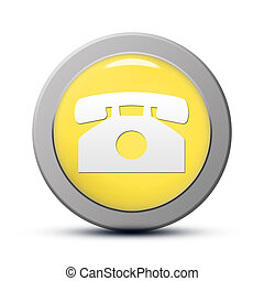 Phone icon - yellow round Icon series : Phone button