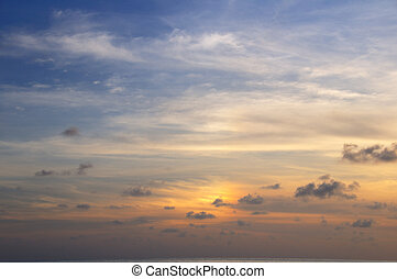 Sunset sky background - Detail of tropical sky with soft...