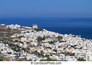 Syros island in Greece - Ermoupoli town at Syros island in...