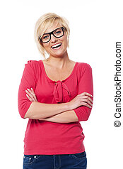 Portrait of happy woman wearing in glasses