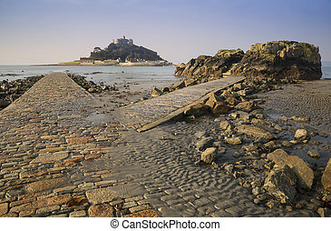 Path to St Michael's Mount from Marazion low tide landscape...