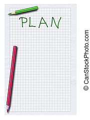 empty plan and two pencils