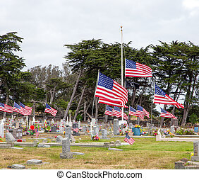 American Flags Honoring War Dead - Cemetery Adorned with...