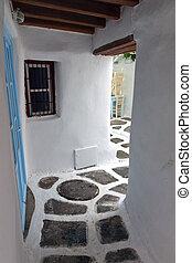 Mykonos island in Greece - Traditional streets of Mykonos...