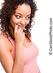 Beautiful african woman thinking over white background