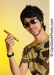 Young man holding cigar - Portrait of trendy latino man...