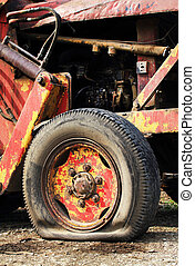 Flat tyre of a tractor