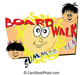 boardwalk summer fun - fun in summer time concept with kids...