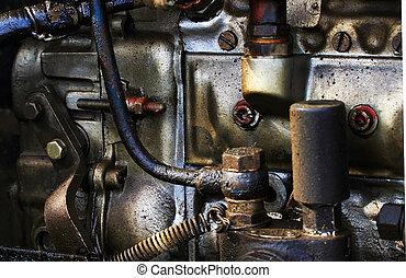 Old vintage diesel engine parts