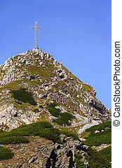 Giewont with a cross